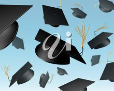 iCLIPART - Clip Art Illustration of mortar boards being thrown in the air in a celebration