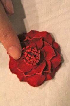 leather flower, flower tutorial