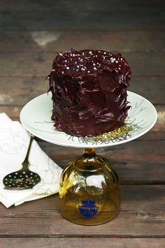 mini peanut butter cake with chocolate ganache