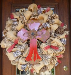 30 Natural Burlap Wreath with BEAUTIFUL RED CROSS by decoglitz, $155.00