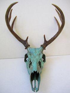 Copper Painted Natural Aqua Patina Deer Skull  ~ I'm doing something similar to Eric's deer...a hunter's trophy becomes art ;D