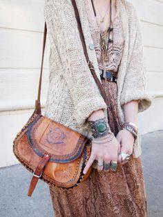 #hippie #Fashion #Style #boho #bohemian #sweater #knit #leather #bag #purse #messy