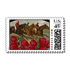 Beautiful postage stamp for a Kentucky Derby Party!  I love it!  Racing horses AND the red roses!