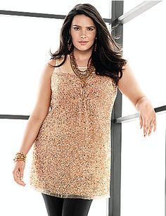 Plus Size Sleeveless Sequin Tunic by Lane Bryant | Lane Bryant--mix and match with a cute skirt?!