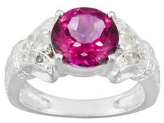3.56ctw Round Pink Topaz And White Topaz Sterling Silver Ring