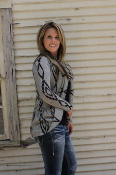 The Texas Cowgirl - Gray Black Aztec Tribal Open Cardigan, (http://www.thetexascowgirl.com/gray-black-aztec-tribal-open-cardigan/)