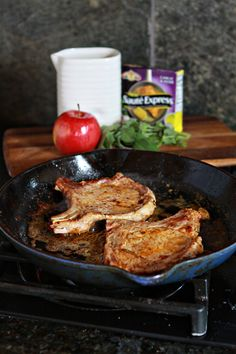 Apple Cider Sage Pork Chops with Caramelized Apples [Giveaway] | Good Life Eats