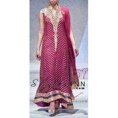 Pink Aline Shirt, Pink Banarsi Chiffon, pink Kurta - StylesInn (Pakistani Designers Wear)