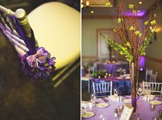 twig and orchid centerpieces-could be easy to put together and disburse them around the room with shorter centerpieces interspersed - Held in our Belleair Room