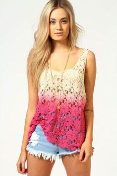 Amelie Dip Dye Crochet Top