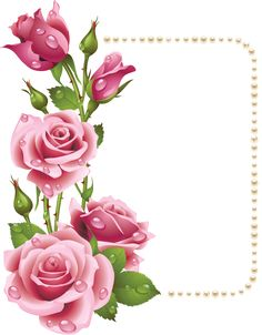 Large Transparent Frame with Pink Roses and Pearls