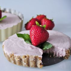 Strawberry Coconut Cream Tarts - these look pretty great for a Maintenance splurge! Try sweetening with stevia instead of the little bit of maple syrup, if you like.