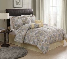 Gray and Yellow Paisley Bedding