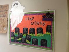 I do a lesson on Word Choice and discuss how we are getting rid of certain words. These words are going to be known as dead words to us. Words such as: big, nice, pretty, awesome, and tall.I make tombstones that have R.I.P. and the word on them. I add a humorous Birth (born: a long time ago) and Death (died: today) dates and then students go around using resource tools to add LIVELY words that can replace the dead words. Then, I take the tombstones and create a Dead Words bulletin board.