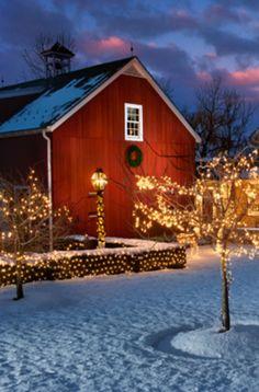 winter snow, holiday lights, christmas lights, country christmas, the farm, christmas carol, red barns, farm houses, old barns