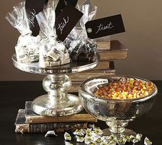 Antique Mercury Glass Candy Bowl