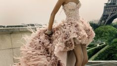 Pastel gown in Paris