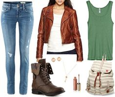 Outfit inspired by Charlie from Revolution - skinny jeans, green tank, faux leather jacket, striped backpack, combat boots by collegefashion.net