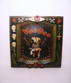 Junker Jane Art Dolls And Miniatures: NEW! Original Voodoo Wall Art w/ voodoo doll