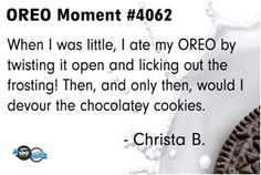 Sounds like he's been perfecting his form for years :) #oreomoment