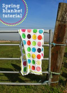 Flower in square spring blanket - tutorial (English & Dutch - stash buster)