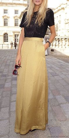 gold maxi skirt - black lace top #winningcombo