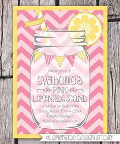 Mason Jar and Chevrons Invitation Printable - Pink Lemonade Party - Bunting - Lemonade Stand Birthday Party Invite - Bridal Shower -