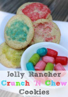 Jolly Rancher Crunch 'N Chew Cookies {Recipe} via SouthernYankeeMix.com #HersheysHalloween