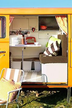 """Inside the """"VW Camper"""". I so want one."""