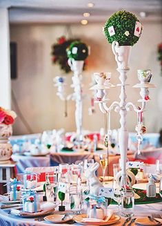 centerpiece and table decor for Alice in Wonderland theme