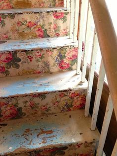 Floral wallpaper on the stair risers... fun idea! rose, cottag, stairway, shabbi chic, shabby chic, stair risers, vintage floral, hous, sweet home