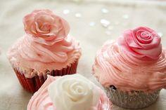 sweet, food, roses, cup cake, pink cupcakes, rose cupcak, pretti, flowers, cupcak rose