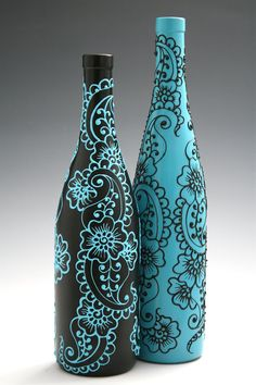 Set of 2 Hand Painted Wine bottle Vases, Turquoise and Black, Floral and Paisley Design