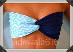 Mint Navy Chevron Bandeau Top Spandex Bandeau Bikini Swimsuit on Etsy, $30.00