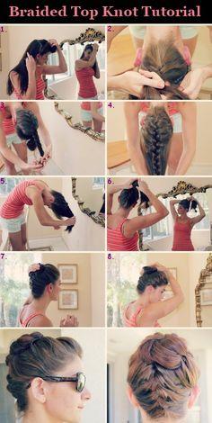 Braided top knot tutorial. french braids, bun hairstyles, diy hair, diy fashion, diy crafts, hairstyle tutorials, fashion beauty, the heat, knot