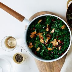 Sautéed Kale with Chorizo and Crispy Garlic | MyRecipes.com #myplate #vegtetable