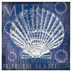 French typographic canvas print featuring a scallop shell.  $24.95