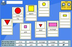 Label the shapes with their names and attributes. Make labels for the shapes e.g. 4 sides, red. Pupils can use the labels given and also type in their own descriptions. Next, decide on criteria and sort them into groups. Ask pupils 'will all of the shapes fit into your groups? Tell me which ones will have to be left out.' 'Choose yellow for one group and a shape for the other... will any shape fit into both groups? Where would you put it?'
