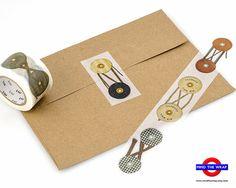 Button and String - Wide Japanese Washi Tape - 30mm x 10m  - MT ex 'String Tie' - Vintage Envelope Fasteners Design