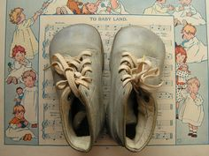 Vintage Baby Blue Leather Baby Shoes by CopperAndTin on Etsy