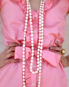 ruffl, dress, nail colors, outfit, pearl necklaces, pink, bow, blues, blue nails
