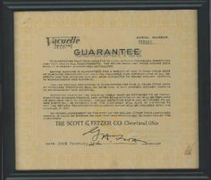 The Kerr family from Australia sent us back their great grandmother's 1928 Vacuette Guarantee in a nice frame for our archives. We hope the machine brought her many years of great service!