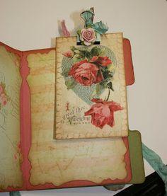 Shabby Beautiful Scrapbooking  altered binder clip in mini album