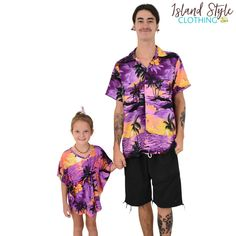 Purple Sunset Tropical Fun - Father & Daughter  Matching Party Clothing. Mens Hawaiian Shirt & Girls Beach Cover up. #sunsetparty #matchymatchy #hawaiianshirt #girlsbeachcoverup #partyshirt #fatherdaughtermatching #luau #luauparty #beachparty #fancydress #vacay #hawaiianmatching #familymatching #cruise #cruisewear #poncho #caftan #kaftan #coverup #beachwear