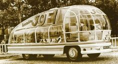 """Futuristic """"Sofil"""" 1953 Vehicle - This aerodynamic glass-bubble bus was designed by the famous French architect, painter and industrial designer Felix Aublet to promote the clothing, wools and yarns SOFIL company; it was based on a Saurer bus chassis and manufactured by the Heuliez coach-building company."""