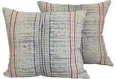 Vintage indigo pillows, a retro way to bring red, white and blue into your home.  #onekingslane and #designisneverdone