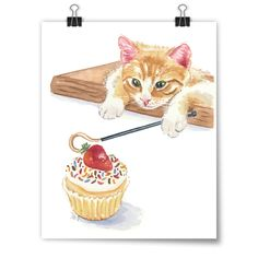 """The Cupcake Thief"" Deidre Wicks Toronto, Ontario, Canada  An original painting available to purchase in our Winter Exhibit - http://pussiesonparade.com/exhibits/  #cat #catart #cats #art #illustration #painting #cupcake #watercolor"
