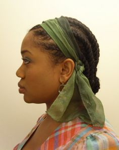 Really simple natural hair style - flat twists.