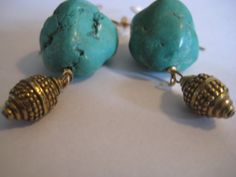 Tibetan Turquoise and Baroness Bali Earrings by 3tomatoes on Etsy, $65.00
