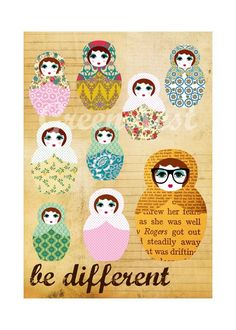 Be different - russian doll nerd collage poster print $14.00  #Art #Collage #Print #russian #doll #nesting #doll #nerd #be different #matryoshka #dolls #glasses #green nest #collage #print #cute #educational